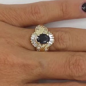 Jewelry - 2 carat 14k yellow gold diamond and sapphire ring